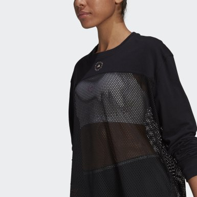 Women adidas by Stella McCartney Black adidas by Stella McCartney Mesh Long-Sleeve Top