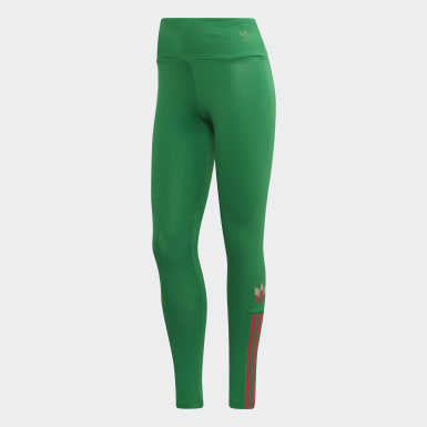 Women's Originals Green Adicolor 3D Trefoil Tights