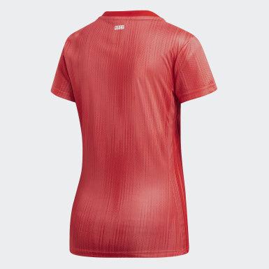 Camiseta tercera equipación Real Madrid Rojo Mujer Fútbol
