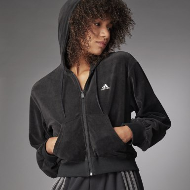 Women Athletics Black Crop Full-Zip Hoodie