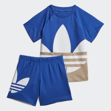 Infant & Toddler Originals Blue Large Trefoil Short Tee Set