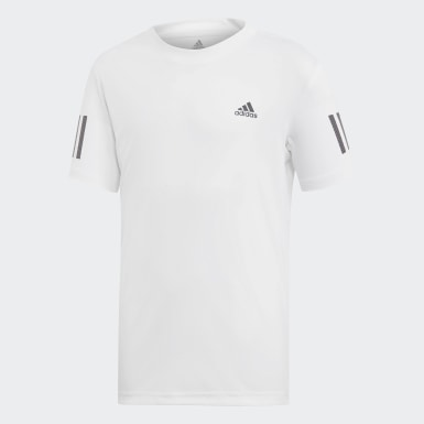Jungen Padel-Tennis 3-Streifen Club T-Shirt Weiß