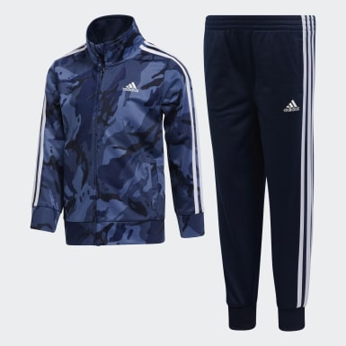 Children Training Blue Classic Camo Jacket and Joggers Set