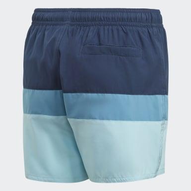 Jungen Schwimmen Colorblock Badeshorts Blau