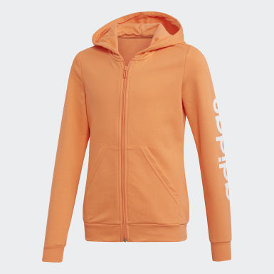 Girls Athletics Orange Linear hættetrøje