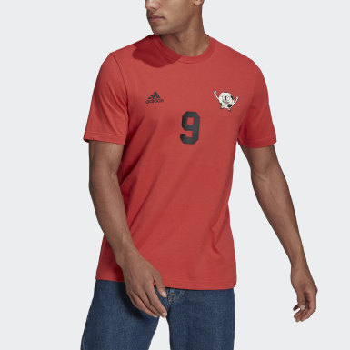 Men Football Red Lil Stripe Graphic Number Tee