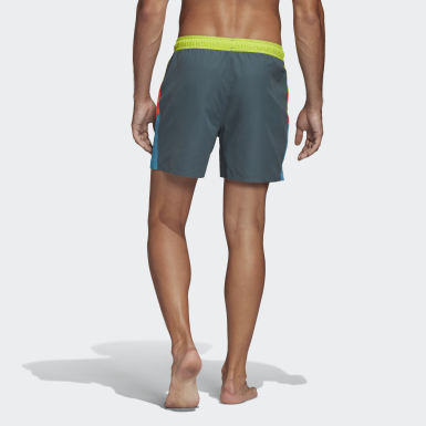 Men Water Sports Blue Short Length Colorblock Swim Shorts