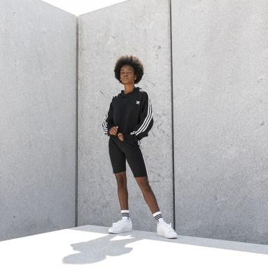 Sudadera con Gorro Cropped Negro Mujer Originals