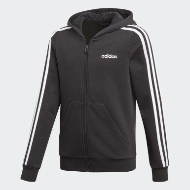 Girls Athletics Svart Essentials 3-Stripes Hoodie