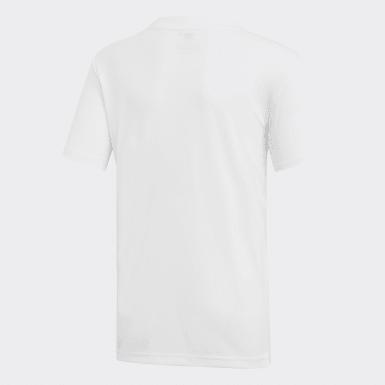 T-shirt 3 Riscas Club Branco Rapazes Tênis De Padel
