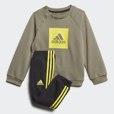 Kids Training Green 3-Stripes Logo Jogger Set