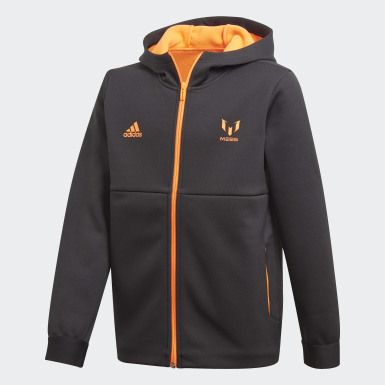 Veste à capuche Football-Inspired Messi AEROREADY Warming Full-Zip Noir Garçons Training