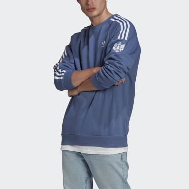 Felpa LOUNGEWEAR adicolor 3D Trefoil 3-Stripes Crew Blu Uomo Originals
