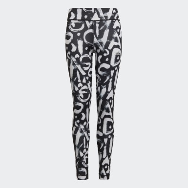 Girls Studio Black Equip AEROREADY Printed Tights