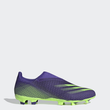 Men's Soccer Purple X Ghosted.3 Laceless Firm Ground Soccer Cleats