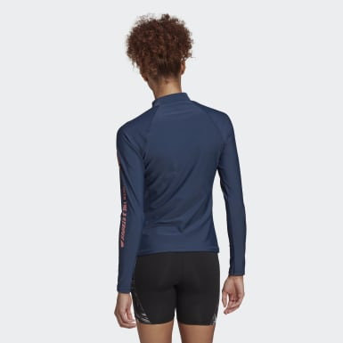 Women Swimming Blue Long Sleeve Rash Guard
