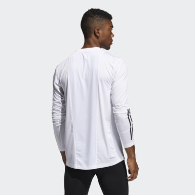 Men Training White Techfit 3-Stripes Fitted Long-Sleeve Top Long-Sleeve Top