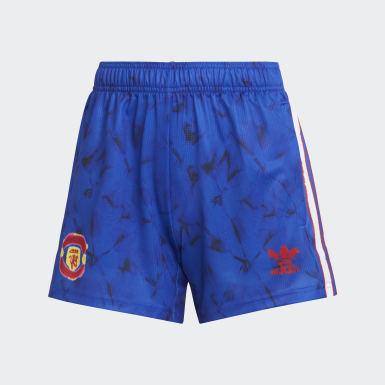 Women Football Blue Manchester United Human Race Shorts