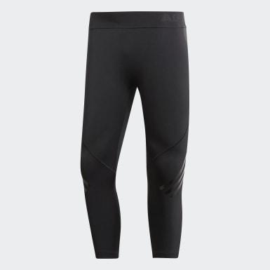 Men's Yoga Black Alphaskin 3/4 3-Stripes Tights