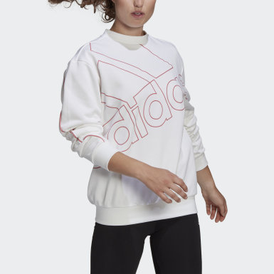Women's Essentials White adidas Giant Logo Sweatshirt (Gender Neutral)