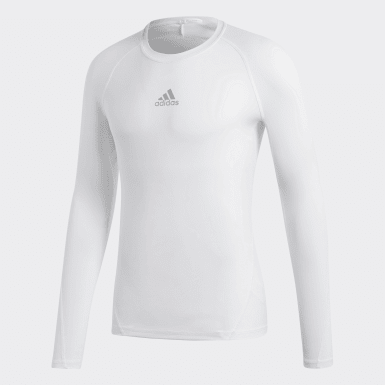 Men Football White Alphaskin Sport Long-Sleeve Top