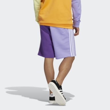 Men Originals Purple Blocked 3-Stripes Sweat Shorts