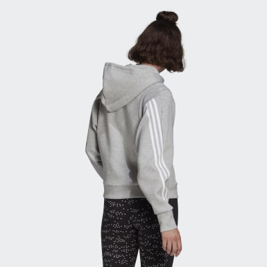 Women Athletics Grey adidas Sportswear Wrapped 3-Stripes Full-Zip Hoodie