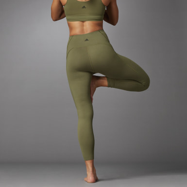 Women Running Green Elevate Yoga Flow 7/8 Tights