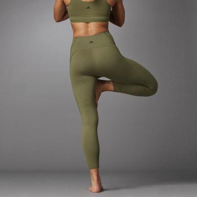 Ženy Beh zelená Legíny Elevate Yoga Flow 7/8