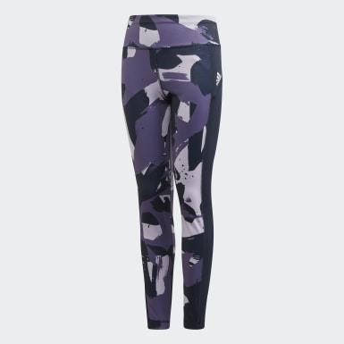Girls Yoga Purple Allover Print Tights