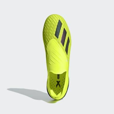Calzado de Fútbol X 18+ Terreno Firme Amarillo Hombre Fútbol