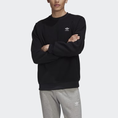 Men's Originals Black Adicolor Polar Fleece Crew Sweatshirt