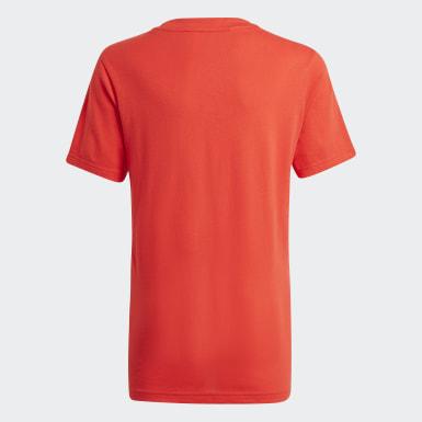 Boys Sport Inspired Red adidas Essentials 3-Stripes Tee
