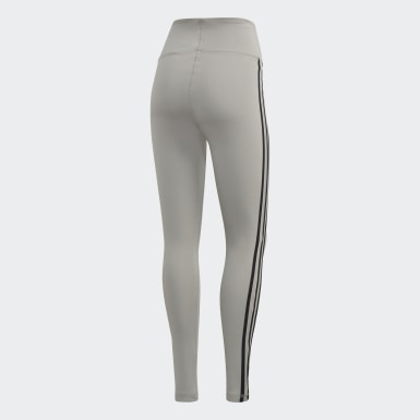 Women Essentials Grey Designed 2 Move 3-Stripes High-Rise Long Tights