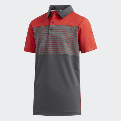 Boys Golf Red Engineered Stripe Polo Shirt
