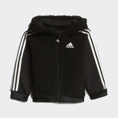 Kids Training Black Fur Full-Zip Hooded Jogger Set