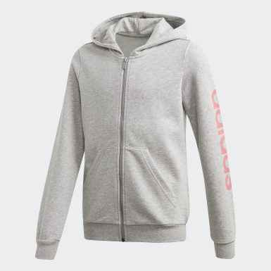 Girls Training Grey Linear Hoodie