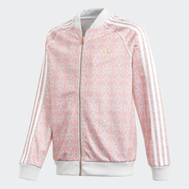 Girls Originals Pink Allover Print SST Track Jacket