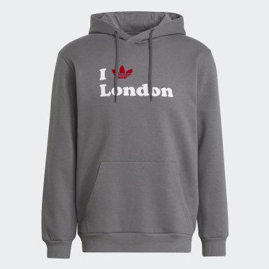 Sudadera con capucha Trefoil London Gris Originals
