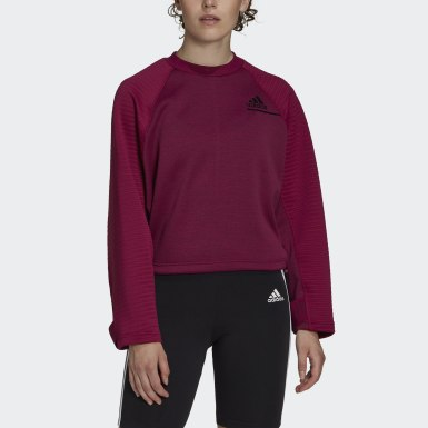 Dam Athletics Burgundy adidas Z.N.E. COLD.RDY Athletics Crew Sweatshirt