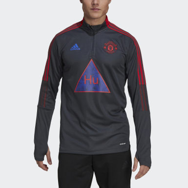 Men Football Grey Manchester United Human Race Training Top