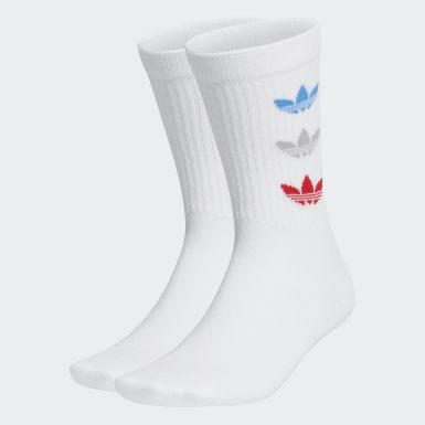 Originals White Tricolor Thin Ribbed Crew Socks 2 Pairs