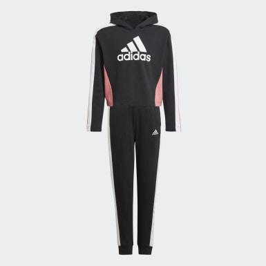 Girls Training Black Colorblock Crop Top Track Suit