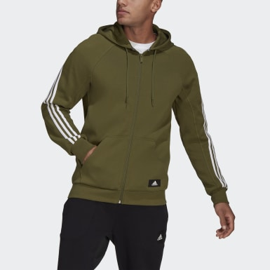 Men's Athletics Green adidas Sportswear 3-Stripes Hooded Track Top