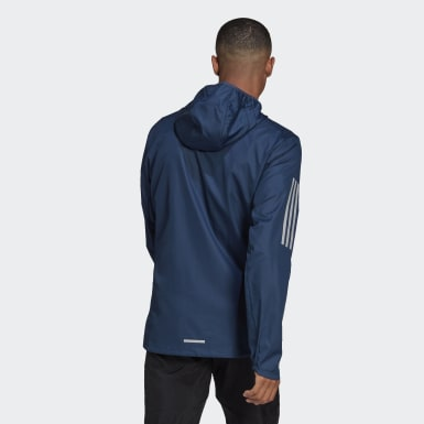 Men Running Blue Own the Run Hooded Windbreaker