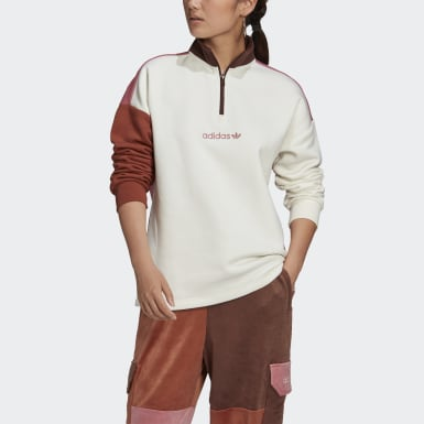 Dames Originals Wit Half-Zip Sweatshirt
