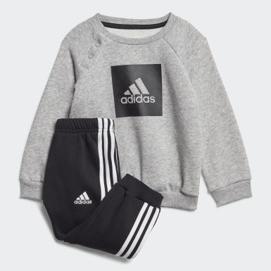 Kinderen Training grijs 3-Stripes Fleece Joggingpak
