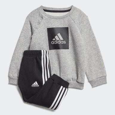 Børn Træning Grå 3-Stripes Fleece joggingdragt