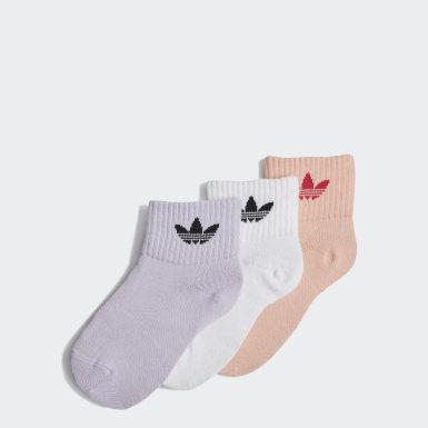 Mid-Ankle Sokker, 3 par Hvit
