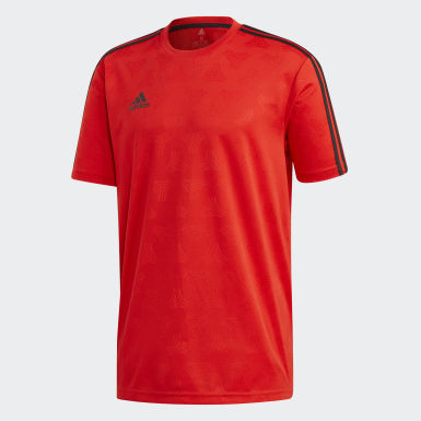 Men Football Red TAN Jacquard Jersey
